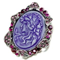 Pugster February Birthstone Oval Purple Beauty Cameo Brooches And Pins Vintage Pugster. $15.49. One free elegant cushioned Gift box available with every order from Pugster.. Money-back Satisfaction Guarantee.. Occasion: casual wear,anniversary, bridal, cocktail party, wedding. Can be pinned on your gown or fastened in your hair with bobby pins.. Exquisitely detailed designer style with Swarovski cystal element.