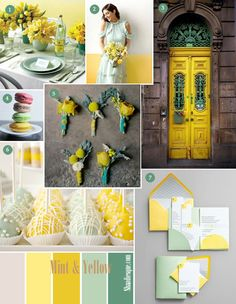 Mint and Yellow Wedding Inspiration board