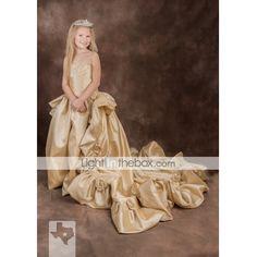 Ball Gown Court Train Flower Girl Dress - Taffeta Sleeveless Spaghetti Straps with Flower by LAN TING BRIDE® 70194 2017 – €88.20