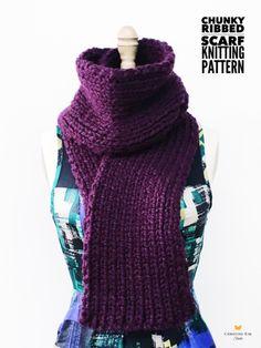 Chunky Ribbed Scarf Knitting Pattern $5 https://christinekimstudio.com/collections/knitting-patterns/products/chunky-ribbed-scarf-knitting-pattern