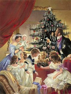 Victoria and Albert ....Albert brought the tradition of having a decorated tree in the house at Christmas from Germany and it soon became the rage in English homes