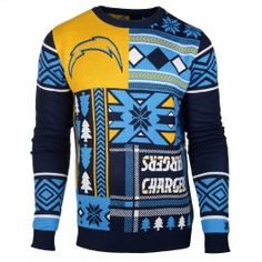 San Diego Chargers Patches Crew Neck Sweater (Navy)