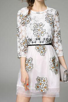 White Floral Print Two Piece Dress