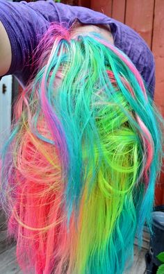 Brown Hair with Rainbow Streaks Rainbow Colored Hair Extensions Rainbow Hair Color Ideas