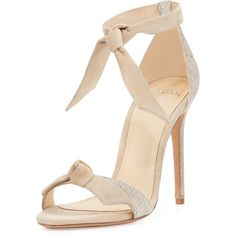 Alexandre Birman Clarita Suede & Linen 100mm Sandal ($595) ❤ liked on Polyvore featuring shoes, sandals, soft beige, ankle strap sandals, strap sandals, suede shoes, block heel ankle strap sandals and beige sandals