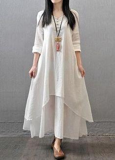 White Maxi Dress Women Soft Cotton Linen Long Sleeve Dresses Loose Party Literary Vintage Dress fashion Brief Long Dresses