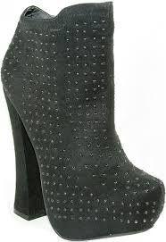 studded suede platform boot with stack heel