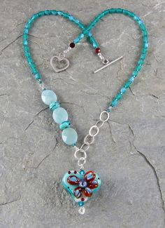 Heart Necklace Amazonite Turquoise Red by LindaLandigJewelry, $65.00