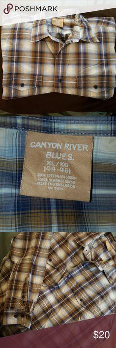 ?? NWOT Men's Dress Shirt NWOT Canyon River Blues brown and blue plaid dress shirt. Perfect for date night, or the rodeo. Canyon River Blues  Shirts Dress Shirts