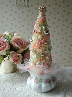 Shabby PINK Christmas  Bottle Brush Tree by IllusiveSwan on Etsy, $40.00