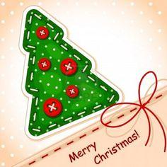 Kerstboom Merry Christmas met een handtekening in de textuur van borduren