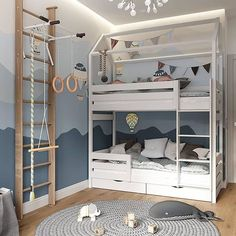 Boys Room Design, Kids Bedroom Designs, Bunk Bed Designs, Cute Furniture, Kids Room Furniture, Cool Kids Bedrooms, Cool Rooms, Toddler Rooms, Baby Boy Rooms
