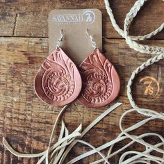 Rosette Earrings - Handtooled leather earrings. Rustic rose gold finish. Teardrop shape. Floral tooled design.