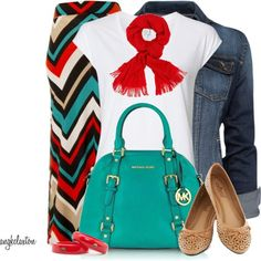 Love the color combo and dressy casual look here.