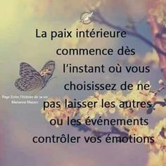 Inner peace begins the moment you choose not to let others or events control your emotions🌹🍀🦋 texte Positive Mind, Positive Attitude, Positive Quotes, Motivational Quotes, Inspirational Quotes, The Words, Wisdom Quotes, Life Quotes, Monólogo Interior