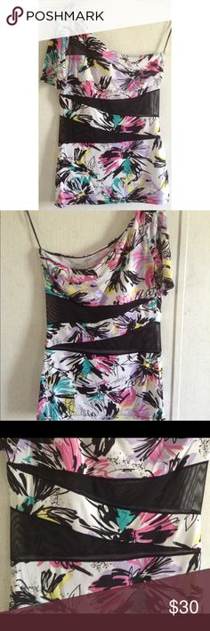 ASOS Mesh Panel One Shoulder Top Excellent condition! The inside tag is not attached on one side. Super cute ASOS one shoulder top. Diagonal mesh panel cutouts on the front and back. Solid fabric with big tropical floral pattern. One shoulder with a short sleeve. No strap on the other shoulder, just a hanger ribbon. Size 8. All offers welcome ASOS Tops Tank Tops