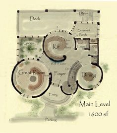 A lovely floor-plan for a house, fashioned much like a castle.