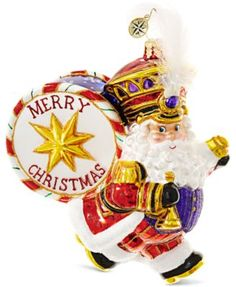 Santa definitely walks to the beat of his own drum. This fun Holiday Marcher ornament from Christopher Radko will add a bit of whimsy to your tree theme this season.   Glass   Wipe clean   Imported  