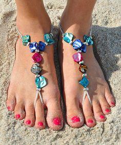 Pink & Blue Elegant Shell Barefoot Sandal