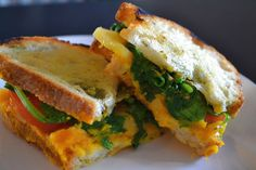 Butternut Squash Sandwich with Vermont Cheddar, Pesto, and Spinach. A great vegetarian option for a weekday lunch or summer picnic.