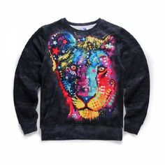 b6d8989c03e0 personality colorful 3D lion sweatshirt pullover teen long sleeve