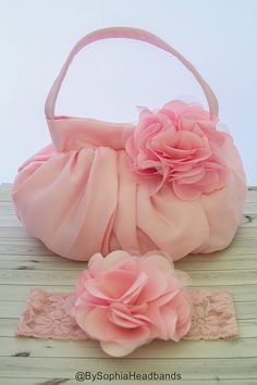 Light Pink Flower Handbag Girls Pink Purse Girls por BySophiaBaby
