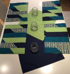 Platzsets - 4 Platzsets mit Deckchen, grün/blau, Punkte - ein Designerstück von Alani11 bei DaWanda