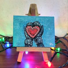 Mini Canvas, Table Lamp, Winter, Painting, Home Decor, Art, Winter Time, Art Background, Table Lamps