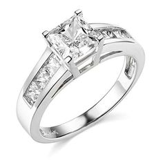 14k White Gold SOLID Princess Square Wedding Engagement Ring  Size 8 * Want additional info? Click on the image.
