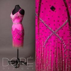 Hot Pink Latin w/ Crystal Fringe on Neckline w/ Volcano Stones, Velvet Middle, & Crystal Fringe on Skirt