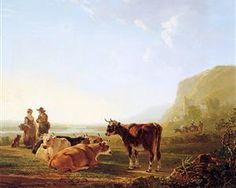 Landscape with resting cows - Jacob van Strij