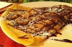 Κρέπες με σοκολάτα μπανάνα και μπισκότο   Συνταγές - Sintayes.gr Cookbook Recipes, Cooking Recipes, Cheesesteak, Pancakes, Pork, Food And Drink, Banana, Sweets, Chocolate