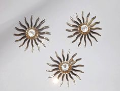 Sarah Coventry Sun Burst Brooch and Earrings Demi Parure Set. 1960s