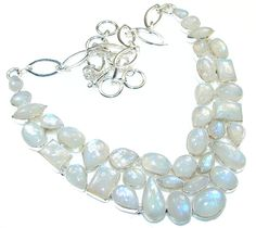 $198.48 Stunning! White Fire Moonstone Sterling Silver necklace at www.SilverRushStyle.com #necklace #handmade #jewelry #silver #moonstone