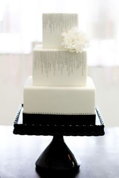 Simple, modern, silver painted white square cake