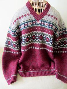 Wool Fair isle Fairisle Unisex V Neck Sweater. L. by lovesknitting