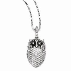 Sterling Silver & CZ Brilliant Embers Owl Necklace $152.00