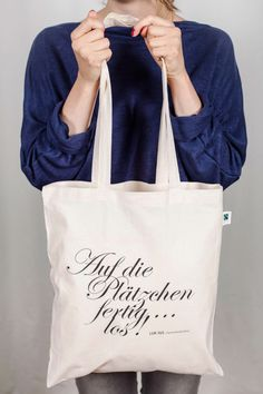This would be good as a apron. Auf die Plätzchen, fertig, los. Jutebeutel mit Spruch // quote tote bag via DaWanda.com