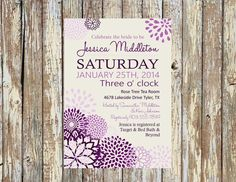 Purple Peonies Invitation: Bridal Shower, Baby Shower, Birthday, Engagement, Rehearsal Dinner
