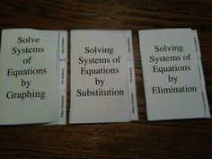Solving Systems of Equations by graphing, substitution, and elimination booklets.: