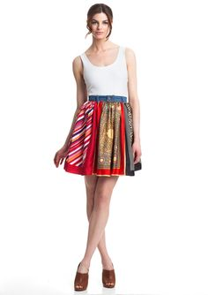 D & G Printed A-Line Skirt.  I totally want to do a knock-off of this.  Just a bunch of square scarves and the waistband from some old jeans!