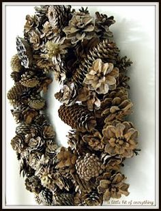 DIY Pine Cone Wreath- soaking in water to close the cones, then when they warm up they open which secures them to the wire! smart