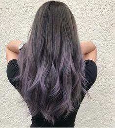 65 Ideas Hair Color Purple Grey Silver Recommended For You Grey Hair Wig, Grey Ombre Hair, Hair Color Purple, Hair Dye Colors, Dye My Hair, Hair Color For Black Hair, Cool Hair Color, Purple Grey, Silver Purple Hair