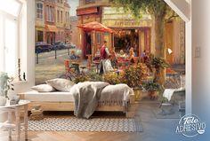 Fotomurales: Cafe Corner, Paris (Haixia Liu) #parís #ciudad #decoración #pared #TeleAdhesivo Liu, Wall Design, House, Painting, Ideas, Murals, Paintings, Vinyls, Cities