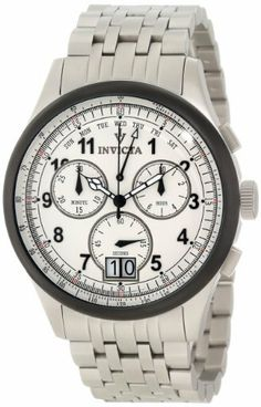 Invicta Men's 10751 Vintage Chronograph White Dial Watch Invicta. $259.99. White dial with black hands and arabic numerals; luminous; black ion-plated bezel. Swiss quartz movement. Flame-fusion crystal; brushed stainless steel case and bracelet. Water-resistant to 50 M (165 feet). Chronograph functions with 60 second, 30 minute and 10 hour subdials; day and date function. Save 87% Off!