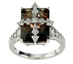 A cross-overlay design elicits instant adoration for this stering silver stunner. Smoky Topaz, Smokey Quartz, Gold And Silver Rings, Qvc, Crosses, Jewlery, Fine Jewelry, Diamonds, Designers