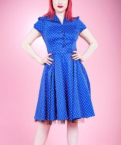 Love this Blue & White Polka Dot Button-Up Dress - Plus by HEARTS & ROSES LONDON on #zulily! #zulilyfinds