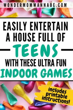 These indoor teen games are easy to set up and a ton of fun to play! You just need some balloons or some plastic cups. # indoor activities for teens Totally Fun Indoor Teen Games Fun Teen Games, Teen Group Games, Youth Group Activities, Teen Fun, Indoor Activities For Kids, Games For Teens, Summer Activities, Indoor Youth Group Games, Party Games For Tweens