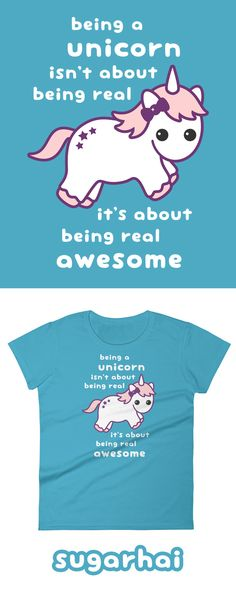 Super cute Awesome Unicorn t-shirts for women in my Etsy shop. Click to see more colors.