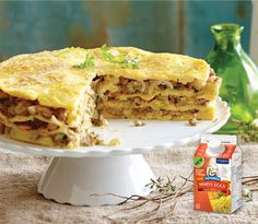 Naturegg  - Apple, Cheese & Sausage Omelette Stack. - This delicious savoury omelette stack will stand out on the table and can be made almost entirely ahead! Check out this recipe. #Bake2Win #BurnbraeFarms
